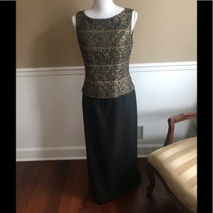 JESSICA HOWARD Vintage maxi evening gown blk/gold